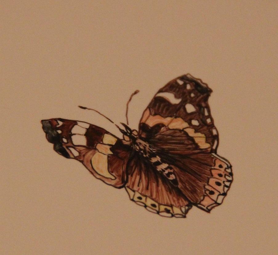 Un joli papillon peint à la main