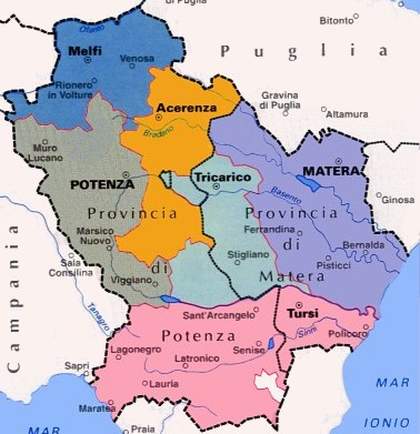 Carte de la Basilicate