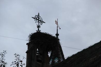 Eguisheim, Alsace - Croix et nid de cigognes !